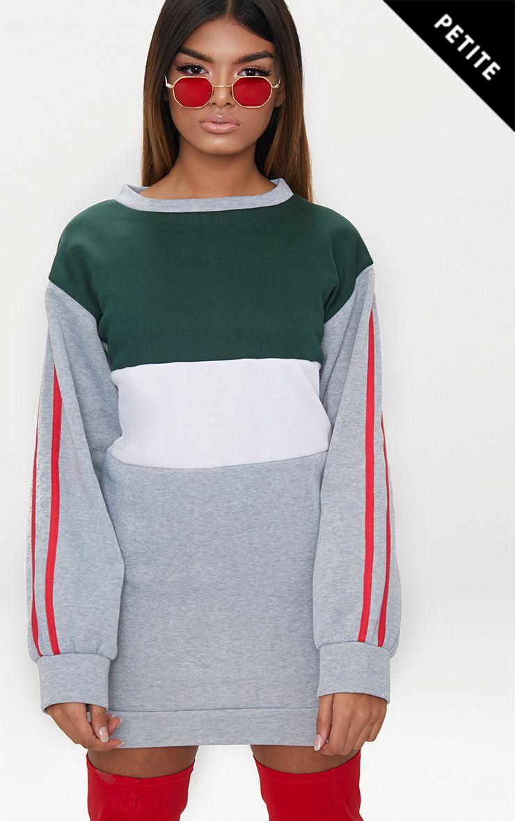 Petite Grey Marl Contrast Sports Stripe Sweater Dress