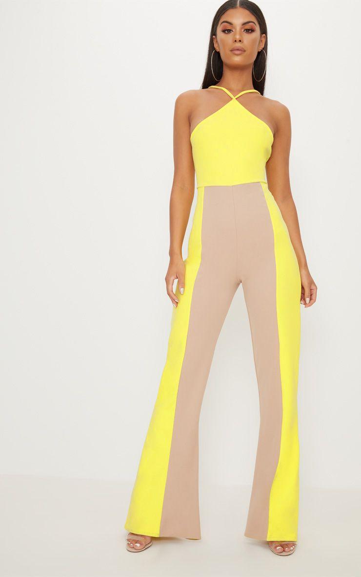 Yellow Colour Block Jumpsuit