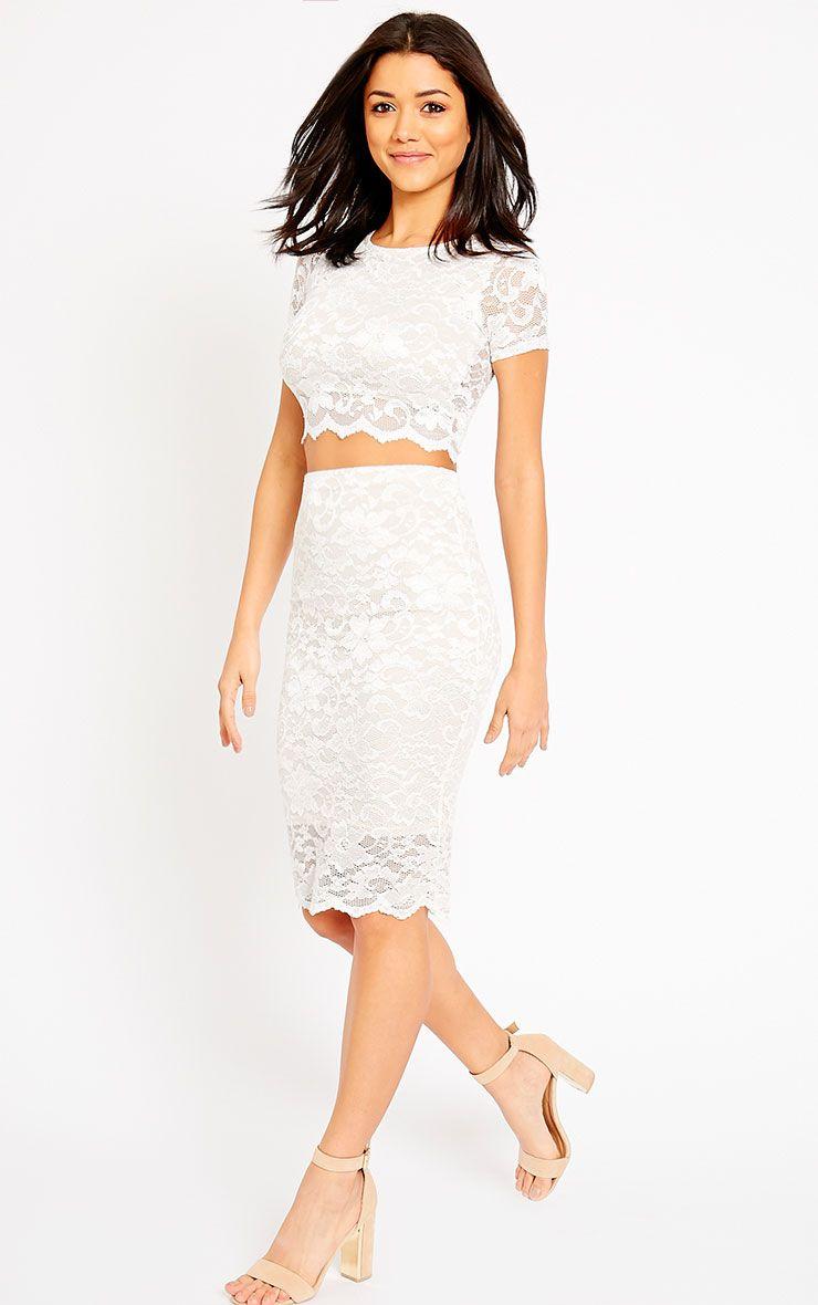 Rez Cream Lace Scallop Edge Midi Skirt 1
