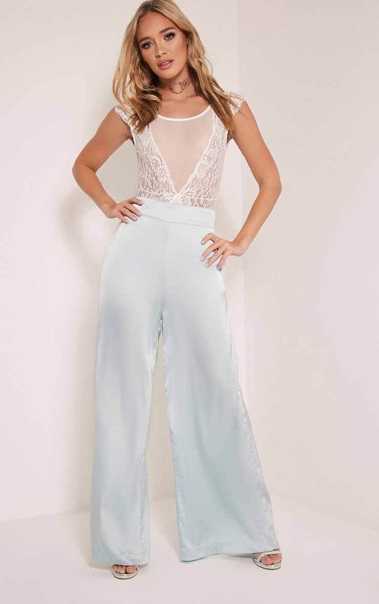 Ida Ice Blue Satin Palazzo Trousers 1