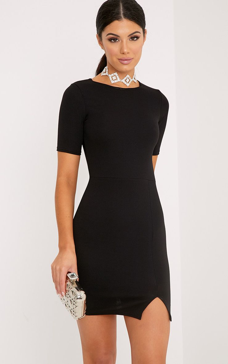 Freya Black Split Detail Capped Sleeve Bodycon Dress