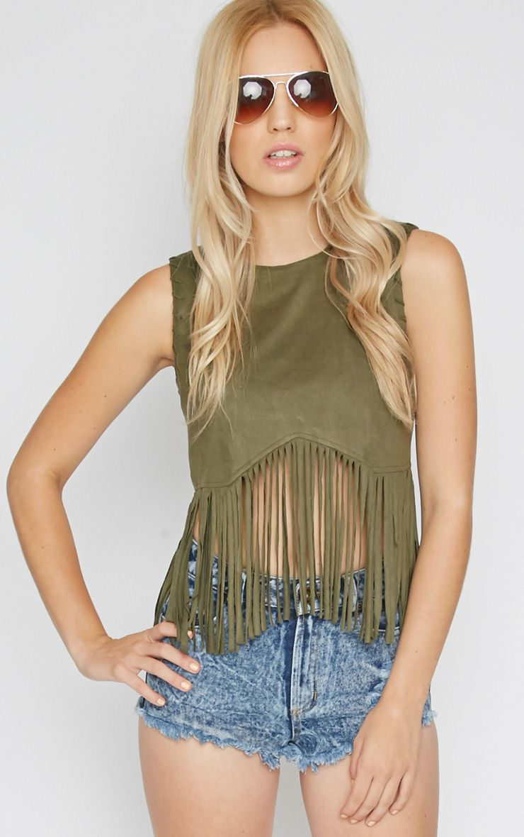 Brielle Khaki Suedette Tassel Crop Top  1