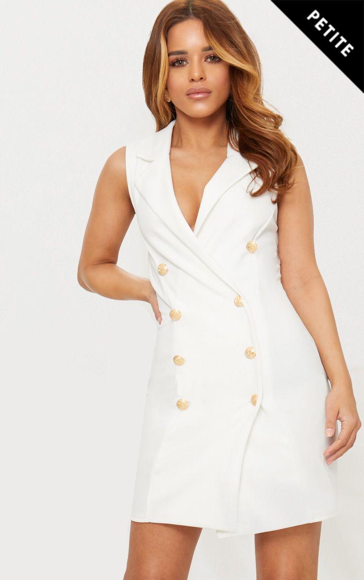 Petite White Button Detail Sleeveless Blazer Dress