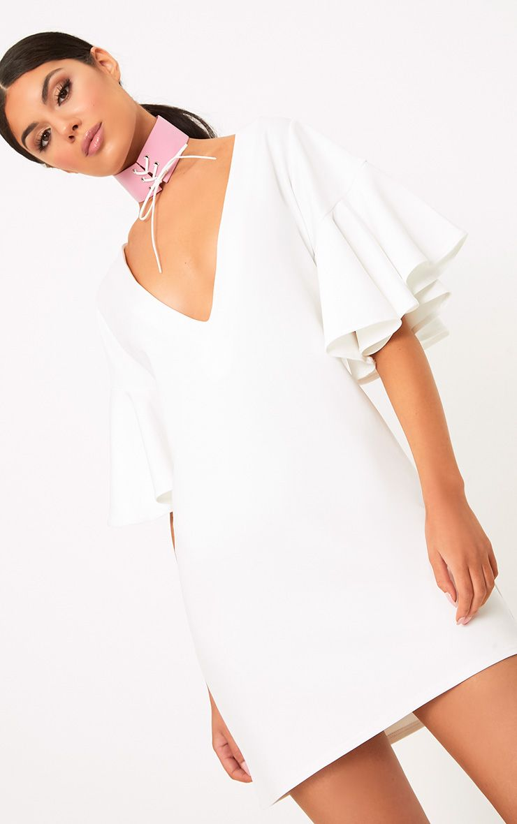 White Frill Sleeve Plunge Shift Dress