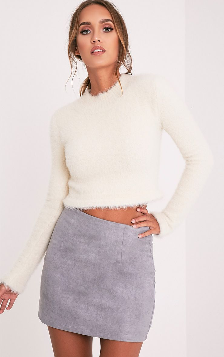 Lauree Grey Faux Suede Mini Skirt 1