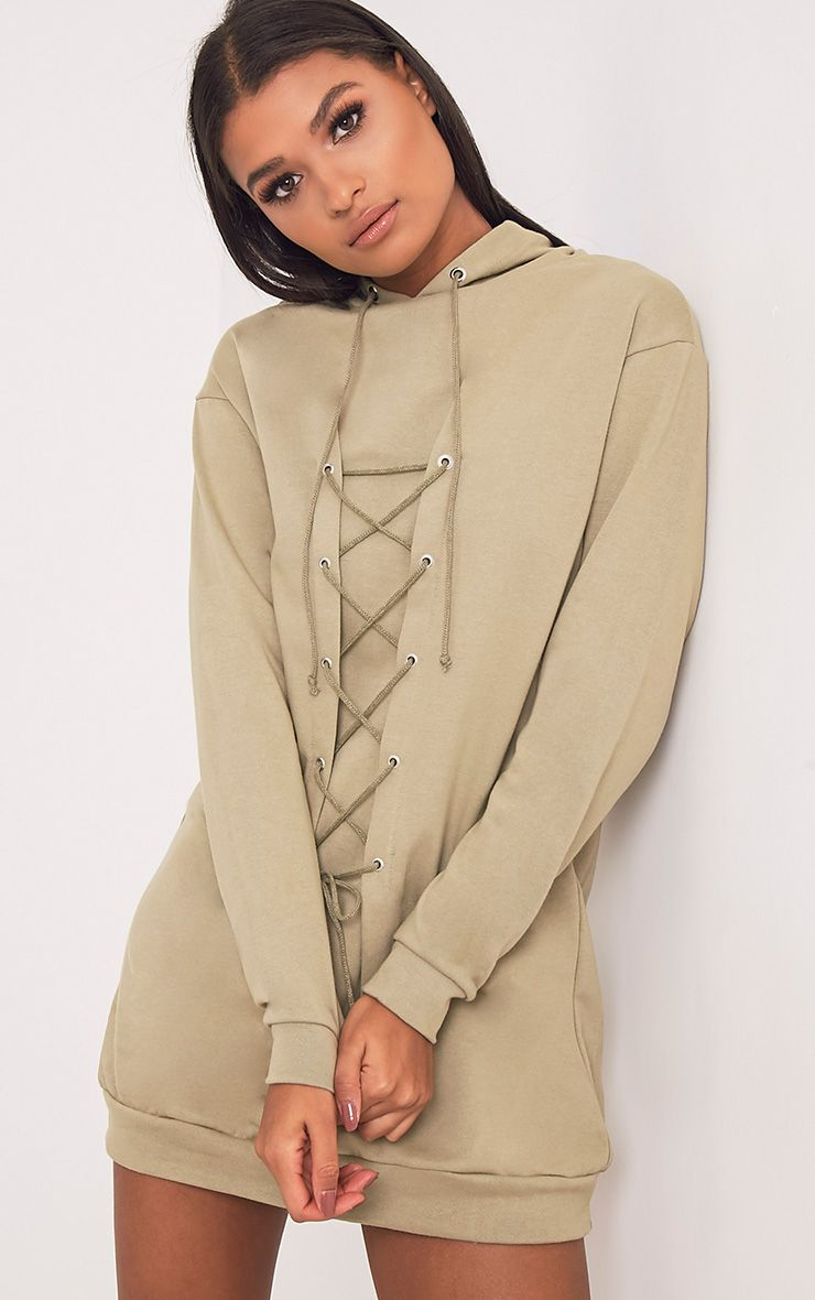 Bexie Khaki Lace Up Hooded Sweater Dress