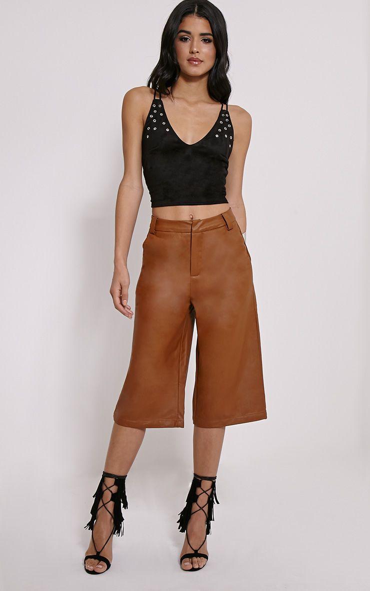 Celine Tan Faux Leather Culottes 1