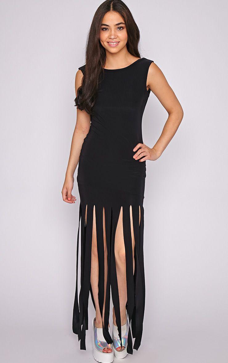 Laurel Black Tassel Maxi Dress 1