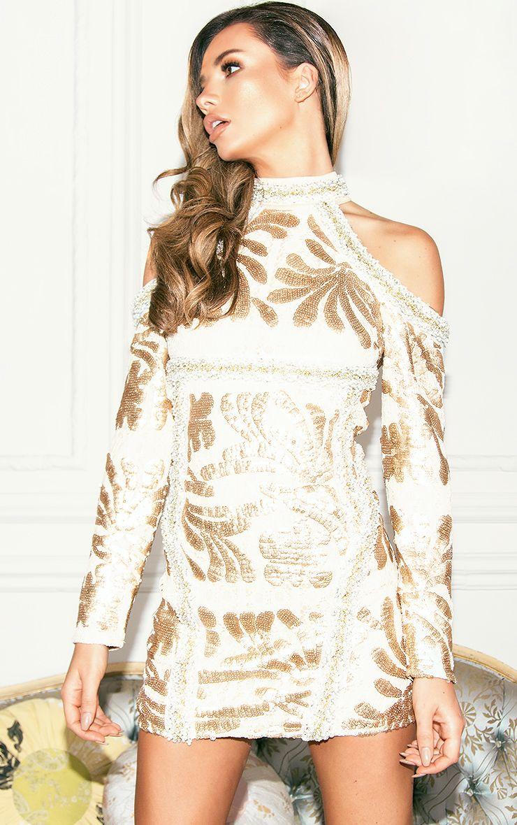 Gold Premium Cold Shoulder Embellished Sequin Bodycon Dress