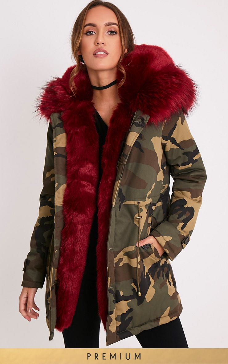 Fliss Red Premium Camo Faux Fur Lined Parka
