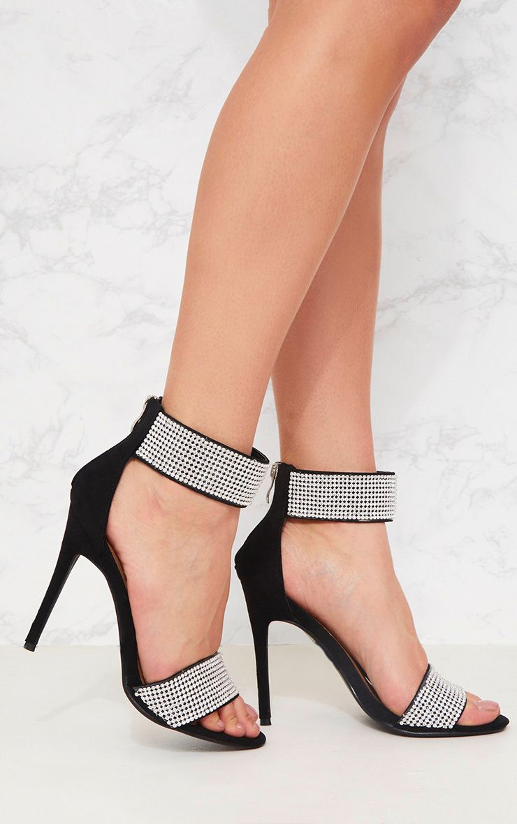 Black Diamante Cuff Sandal