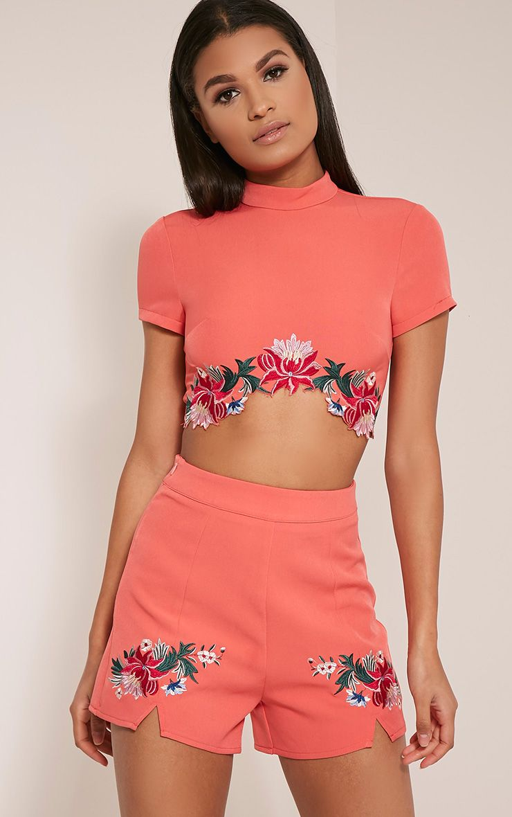 Charis Coral Floral Embroidered Shorts