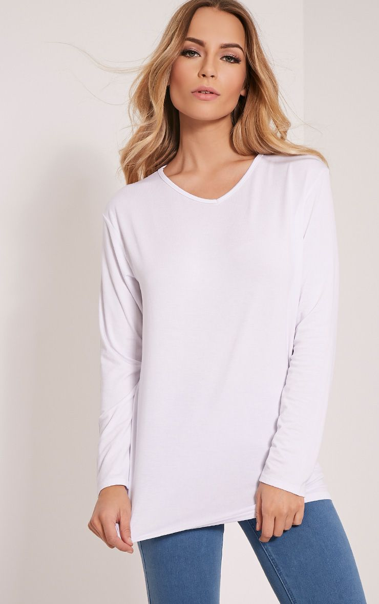 Basic White V Neck Boyfriend Top 1