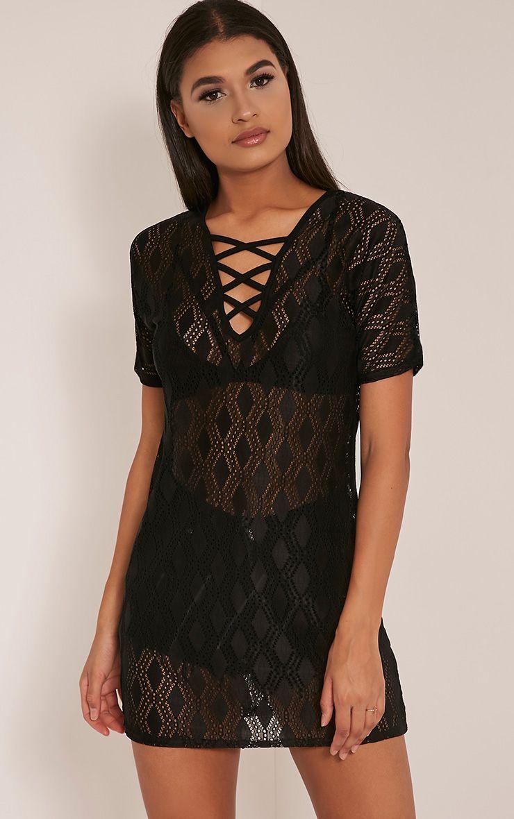 Elsie Black Lace Up Lace T Shirt Dress 1