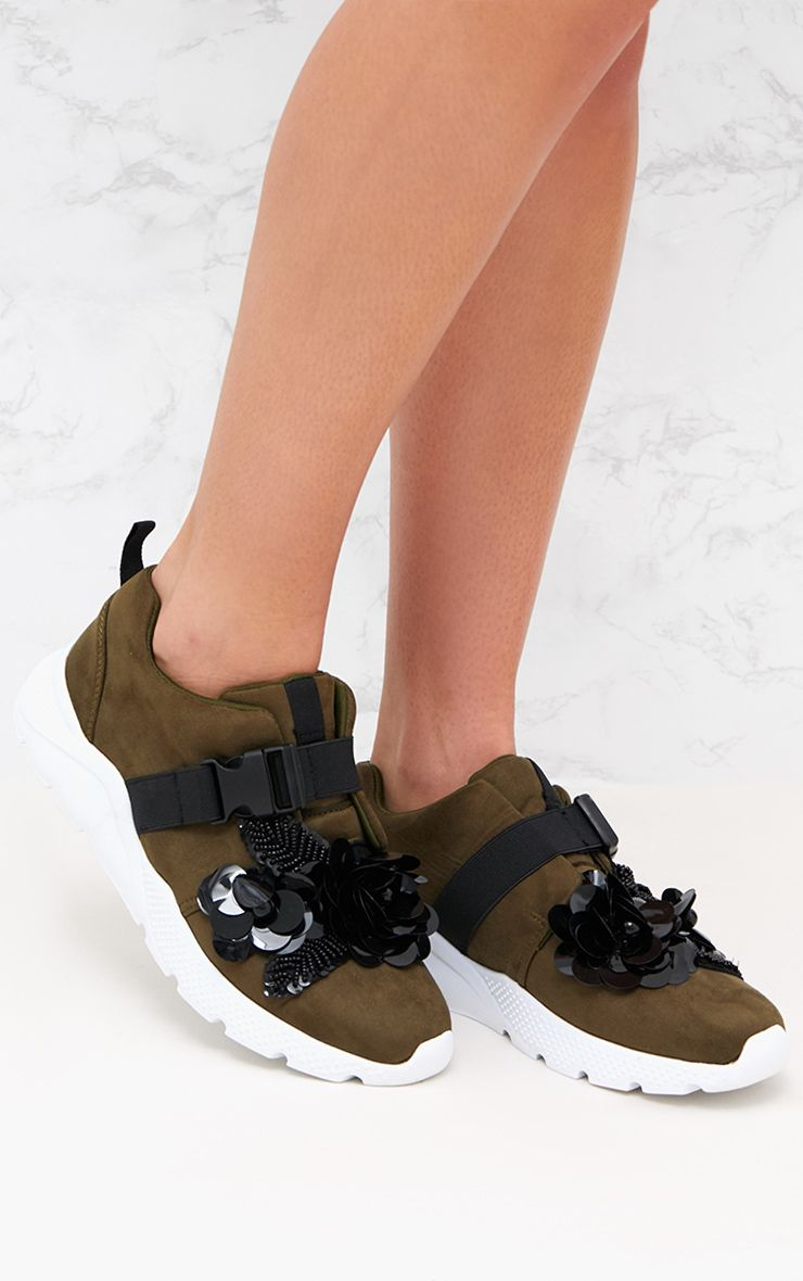 Khaki Floral Embellished Slip On Runner Trainer