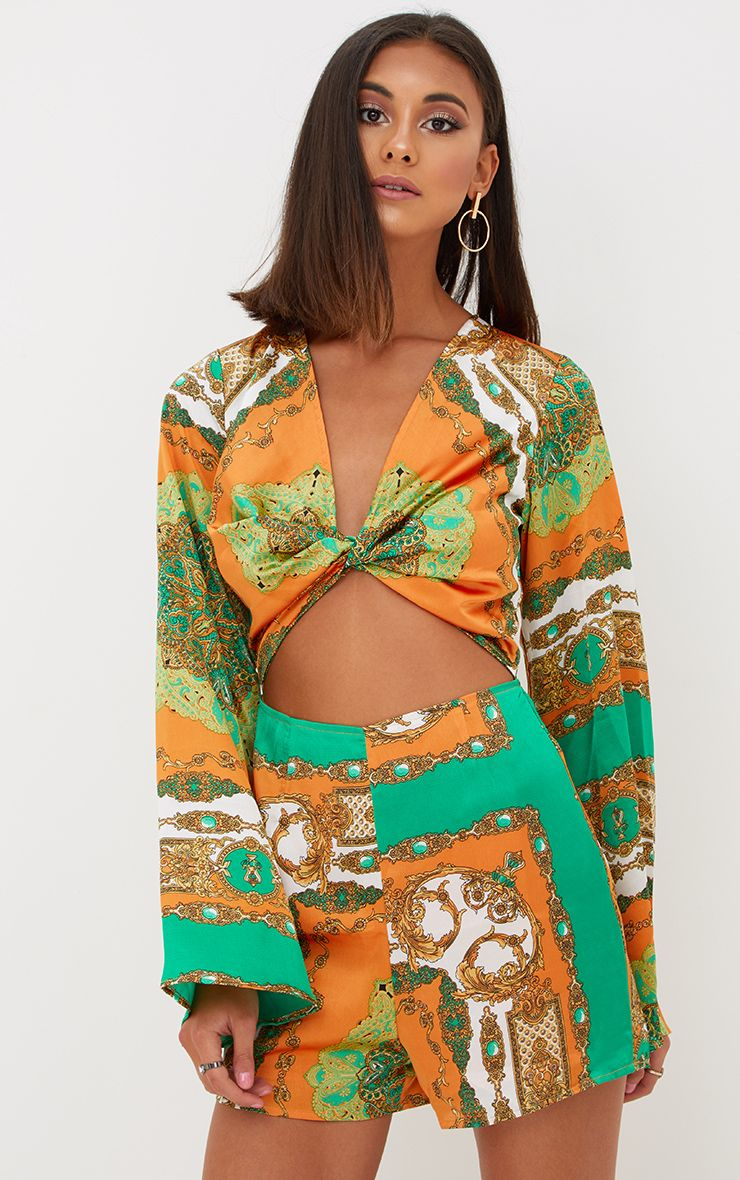 Orange Scarf Print Bell Sleeve Playsuit
