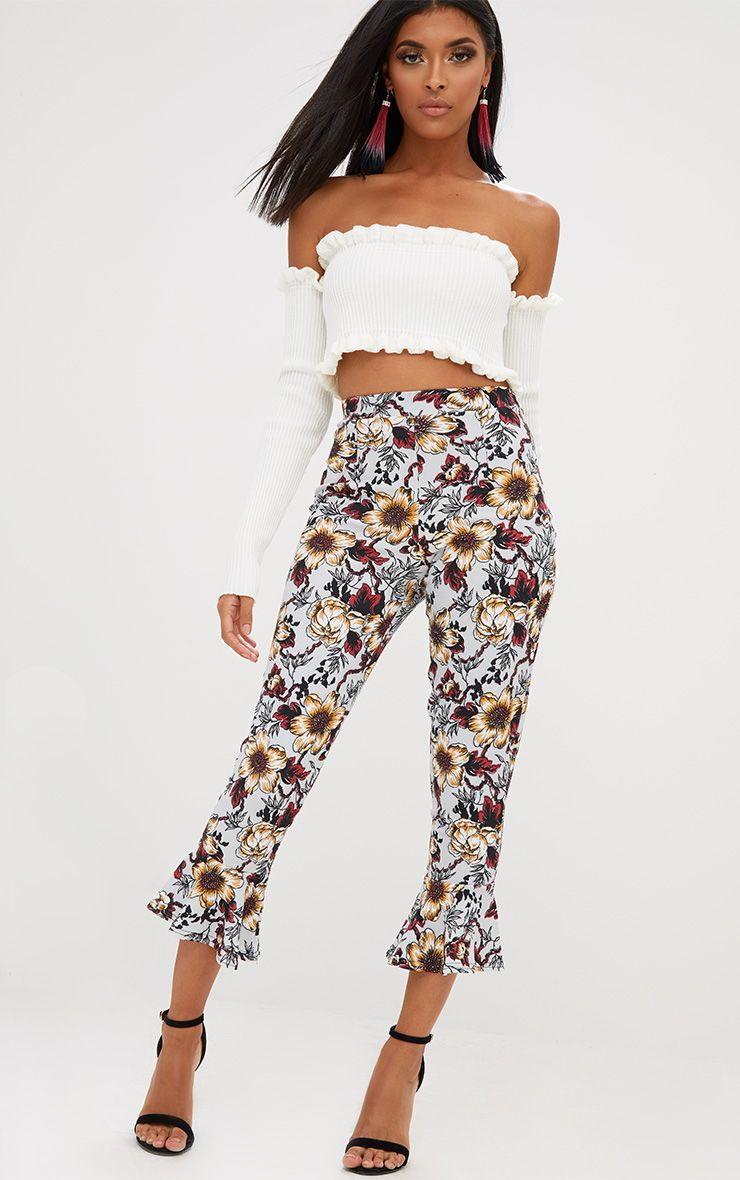 Grey Floral Flare Hem Trousers