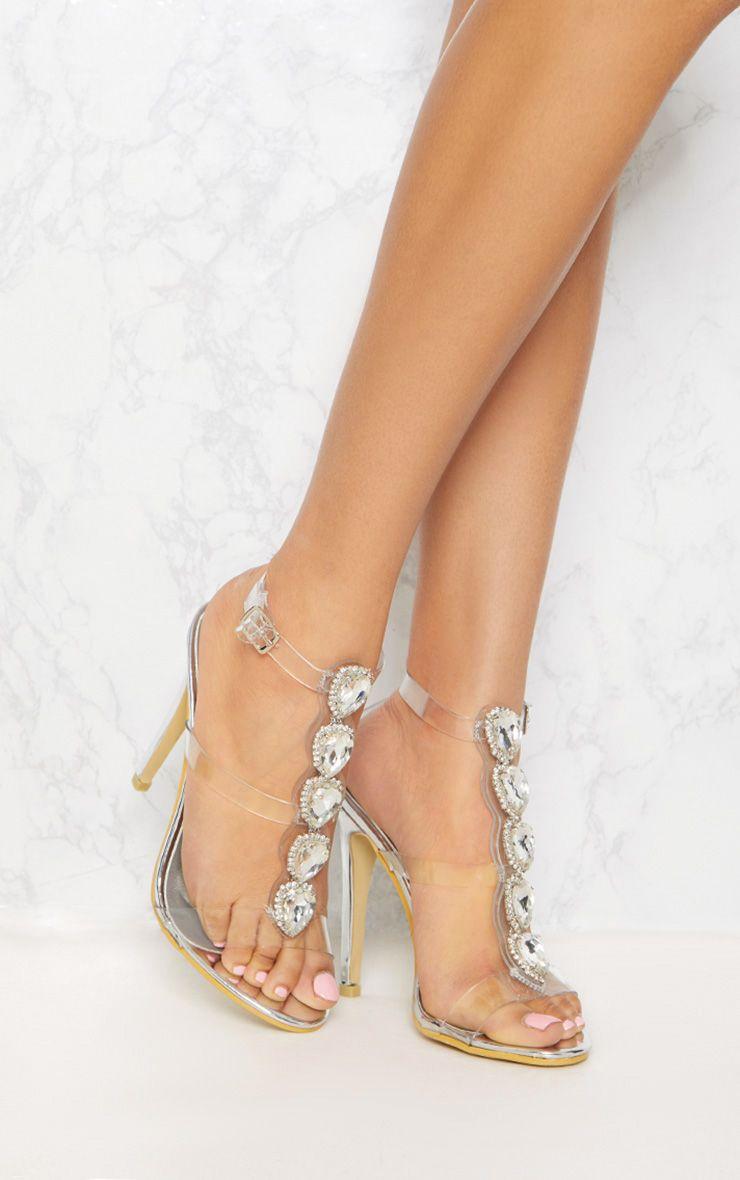 Silver Jewel Heeled Sandal