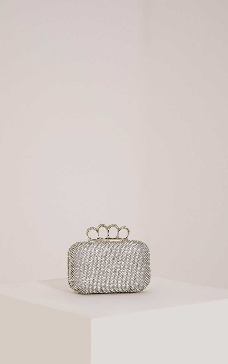 Noa Silver Crystal Knuckle Duster Clutch Bag Grey