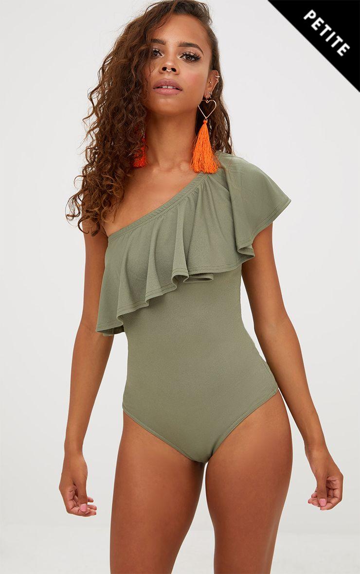 Petite Khaki One Shoulder Frill Bodysuit