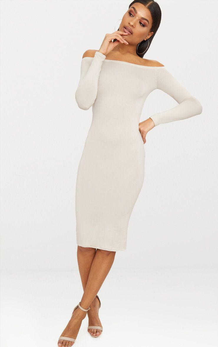 Basic Stone Jersey Bardot Midi Dress