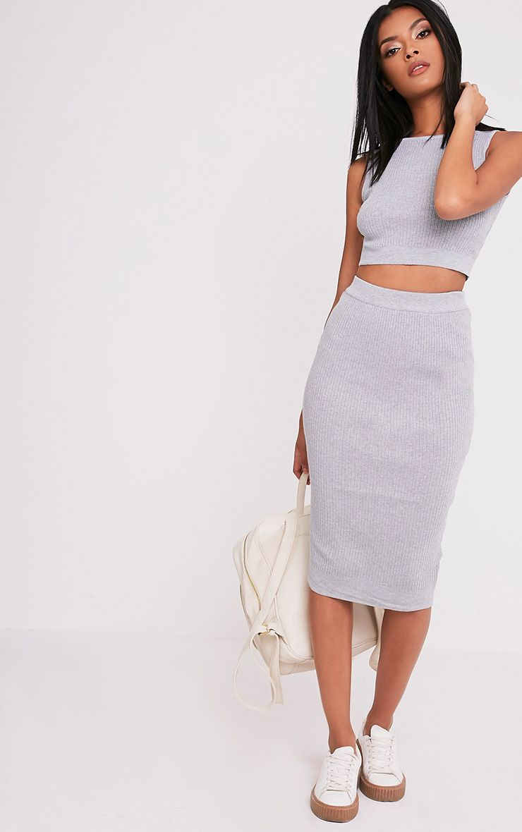 Taegan Grey Ribbed Knitted Midi Skirt