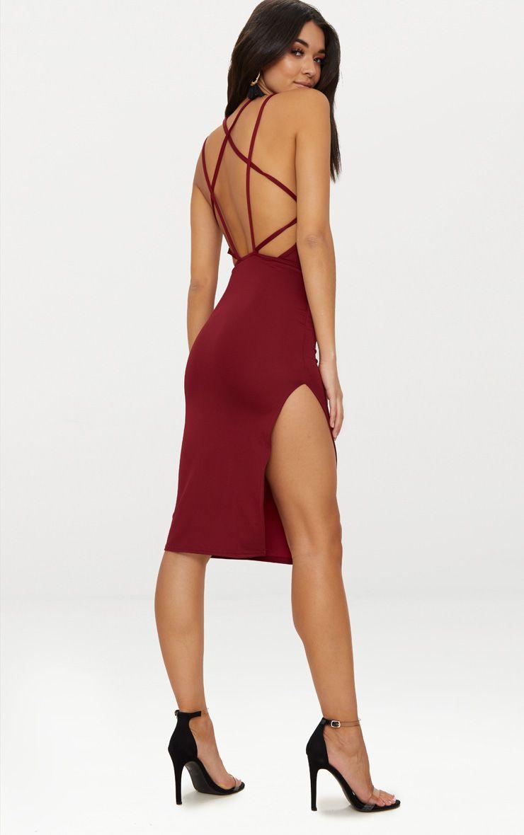 Deep Berry High Neck Extreme Strappy Back Choker Detail Midi Dress