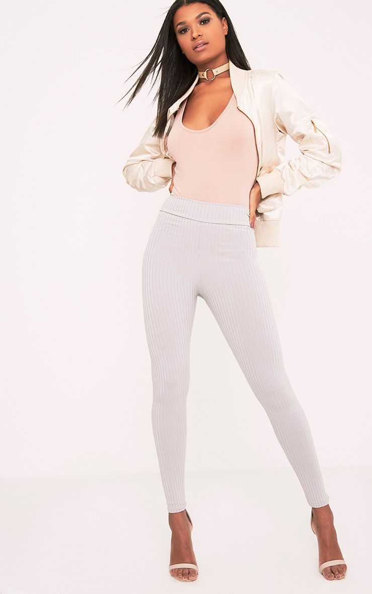 Harlie Grey Ribbed High Waisted Leggings