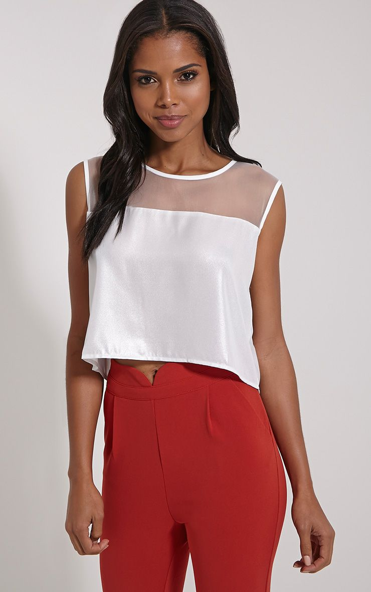 Maricel White Mesh Metallic Crop Top 1