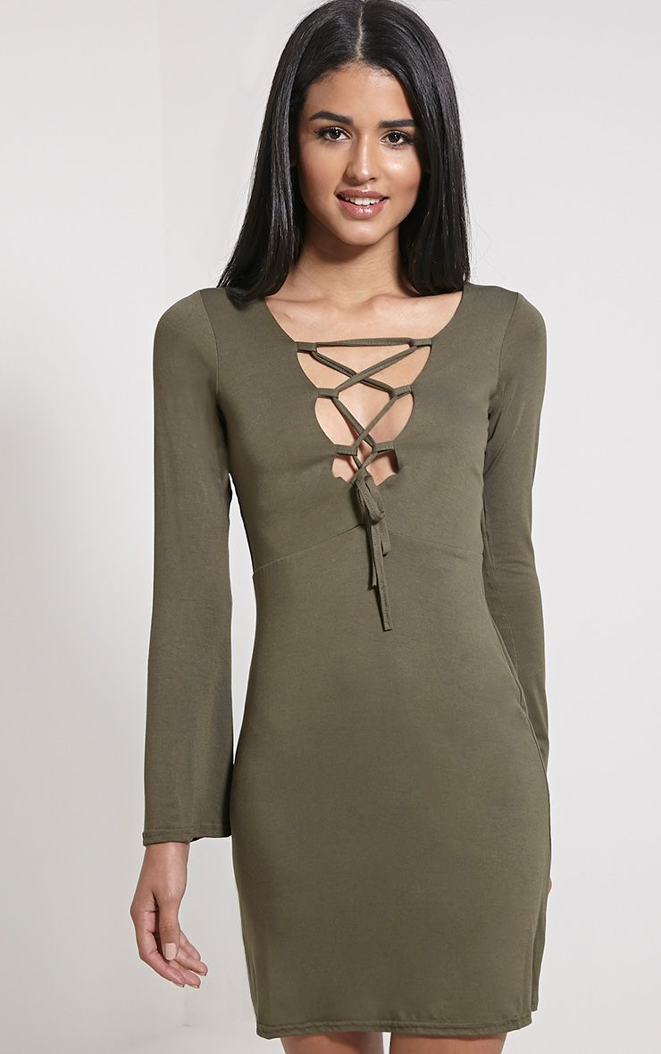 Remilda Khaki Lace Up Jersey Dress 1
