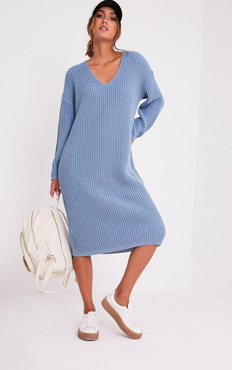 Breeze Blue V Neck Oversized Jumper Dress