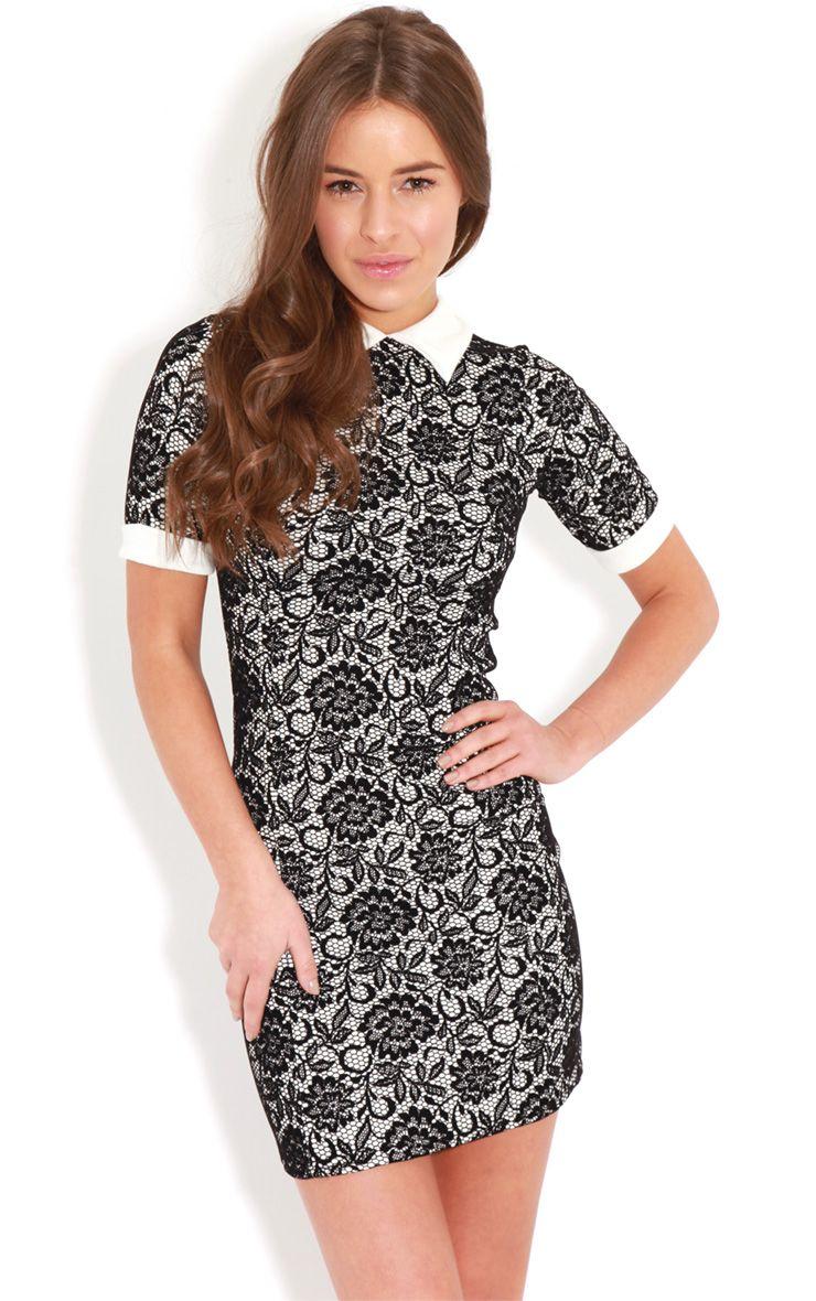 Sammy Floral Textured Velvet Collar Dress   1