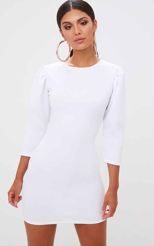 White Puff Detail 3/4 Sleeve Bodycon Dress