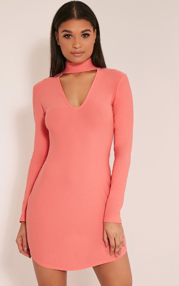 Arianna Coral Crepe Choker  Detail Bodycon Dress 1