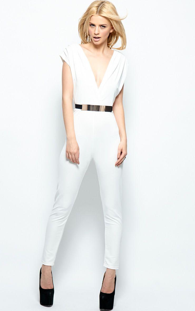 Alyssa White Chiffon Jumpsuit  1