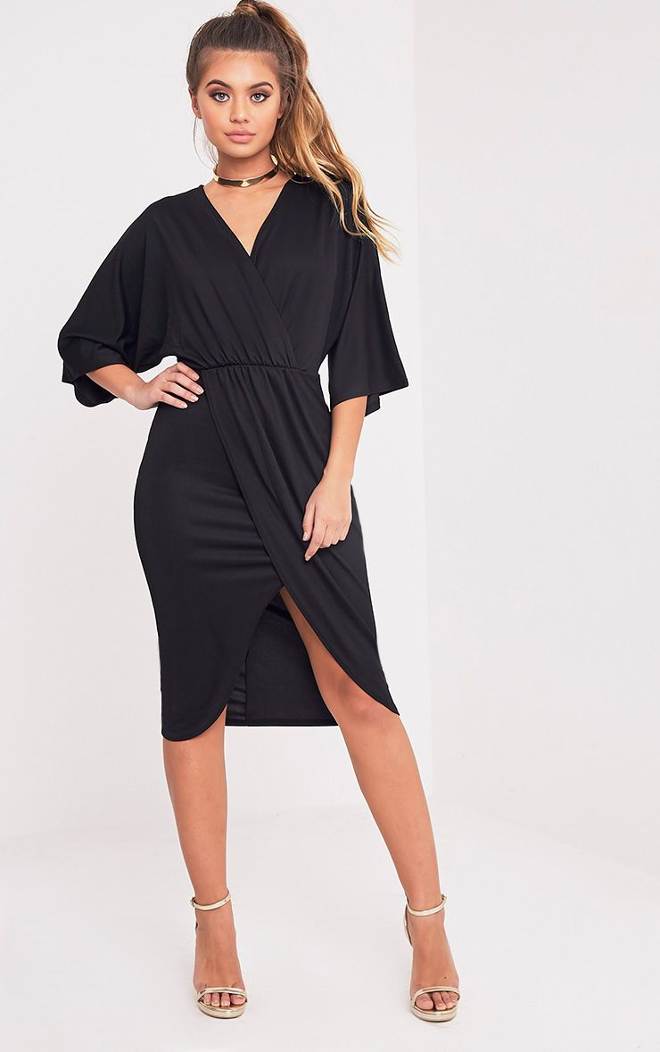 Archer Black Cape Midi Dress