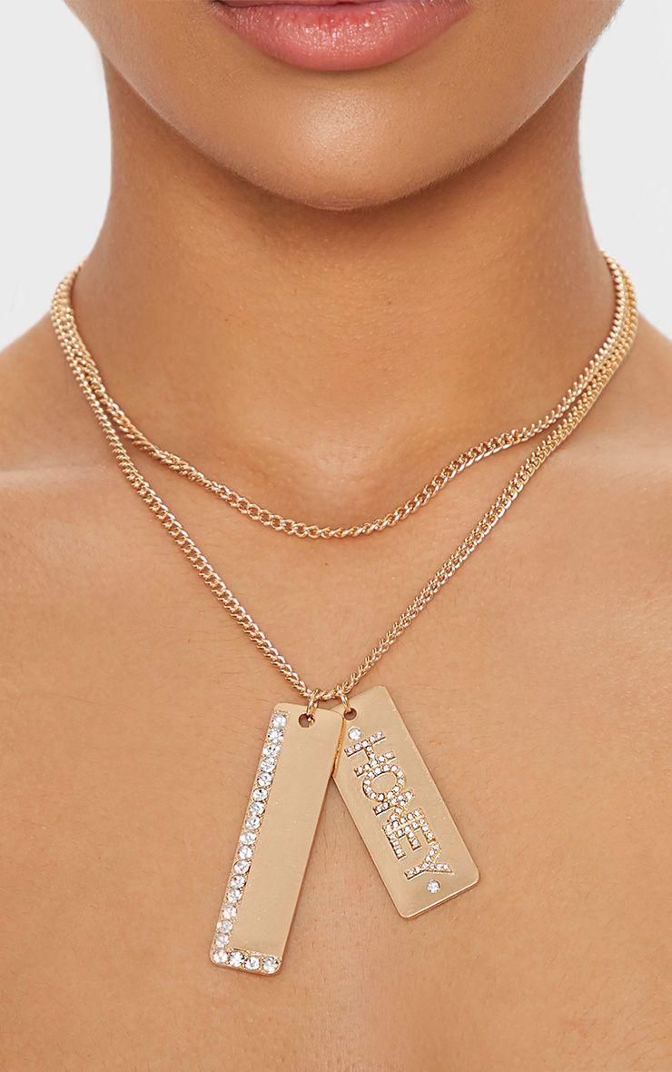 Gold Honey Diamante Tag Necklace