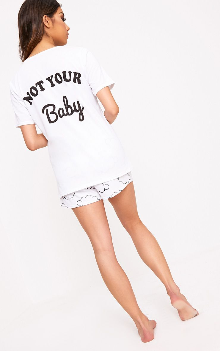 White Not Your Baby Printed PJ Set 1
