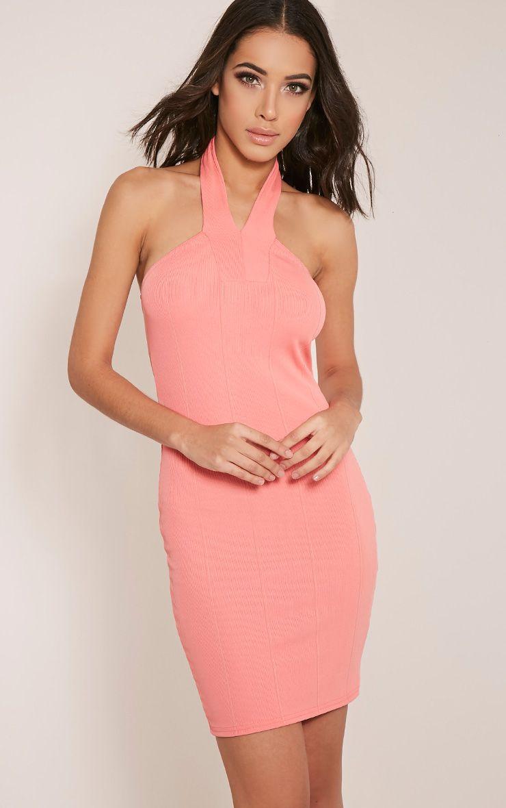 Chessie Coral Halterneck Bandage Bodycon Dress