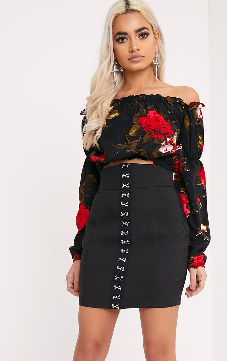 Naomi Red Floral Print Bardot Crop Top