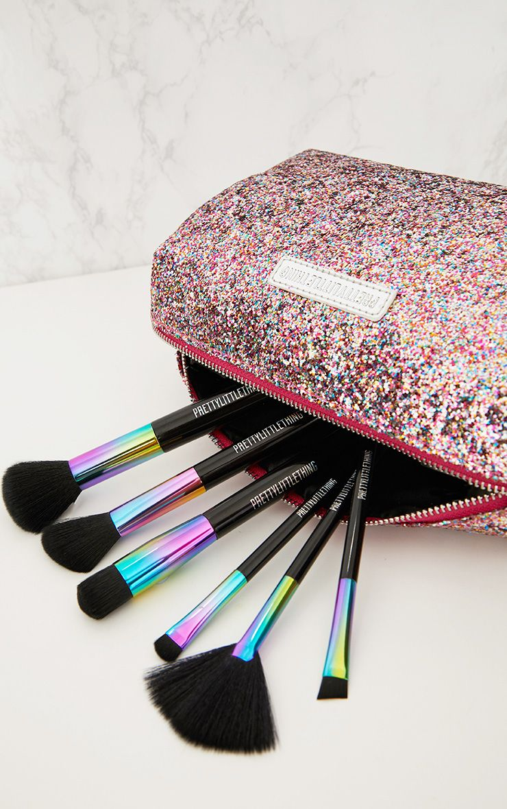 PrettyLittleThing Multi Coloured Glitter Make Up Bag