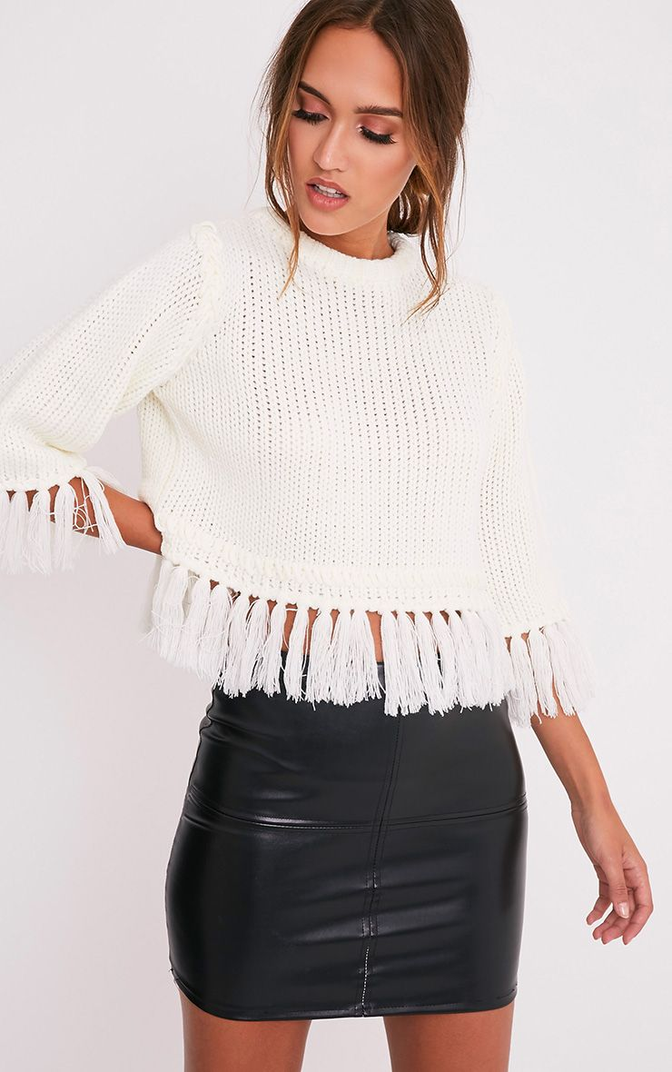 Shelia Cream Fringe Trim Cropped Knitted Jumper 1