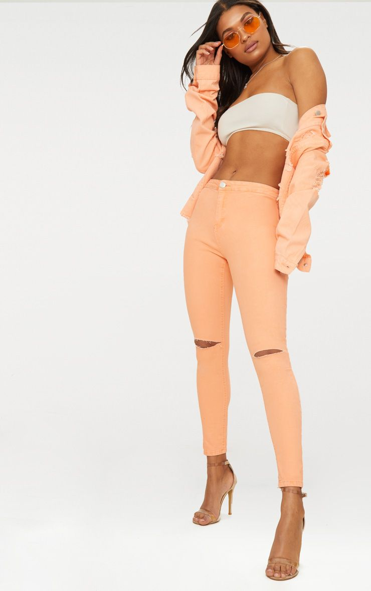 Peach Knee Rip High Waisted Skinny Jean