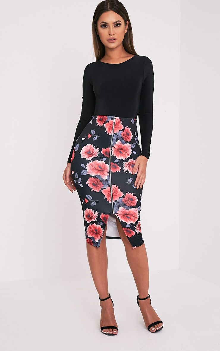 Sarie Red Floral Zip Front Midi Skirt