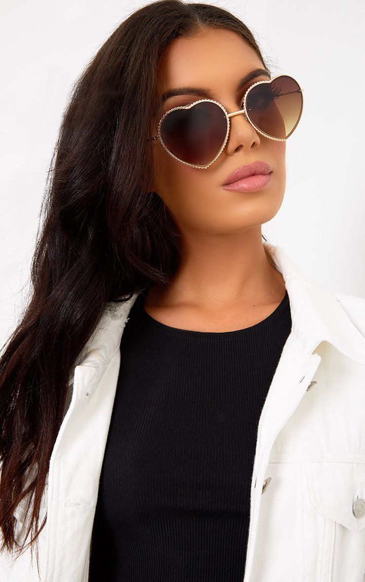 Gold Heart Eye Sunglasses