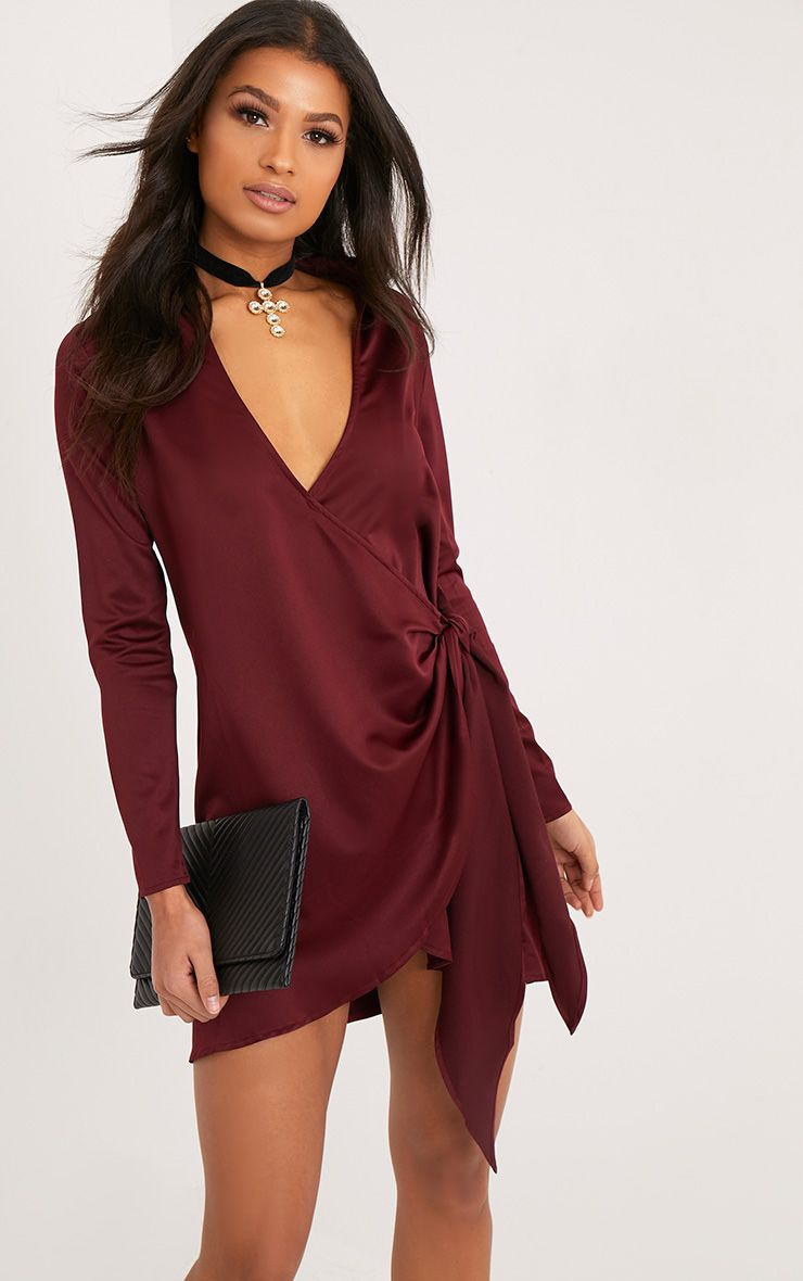 Shaylene Burgundy Tie Side Satin Shirt Dress
