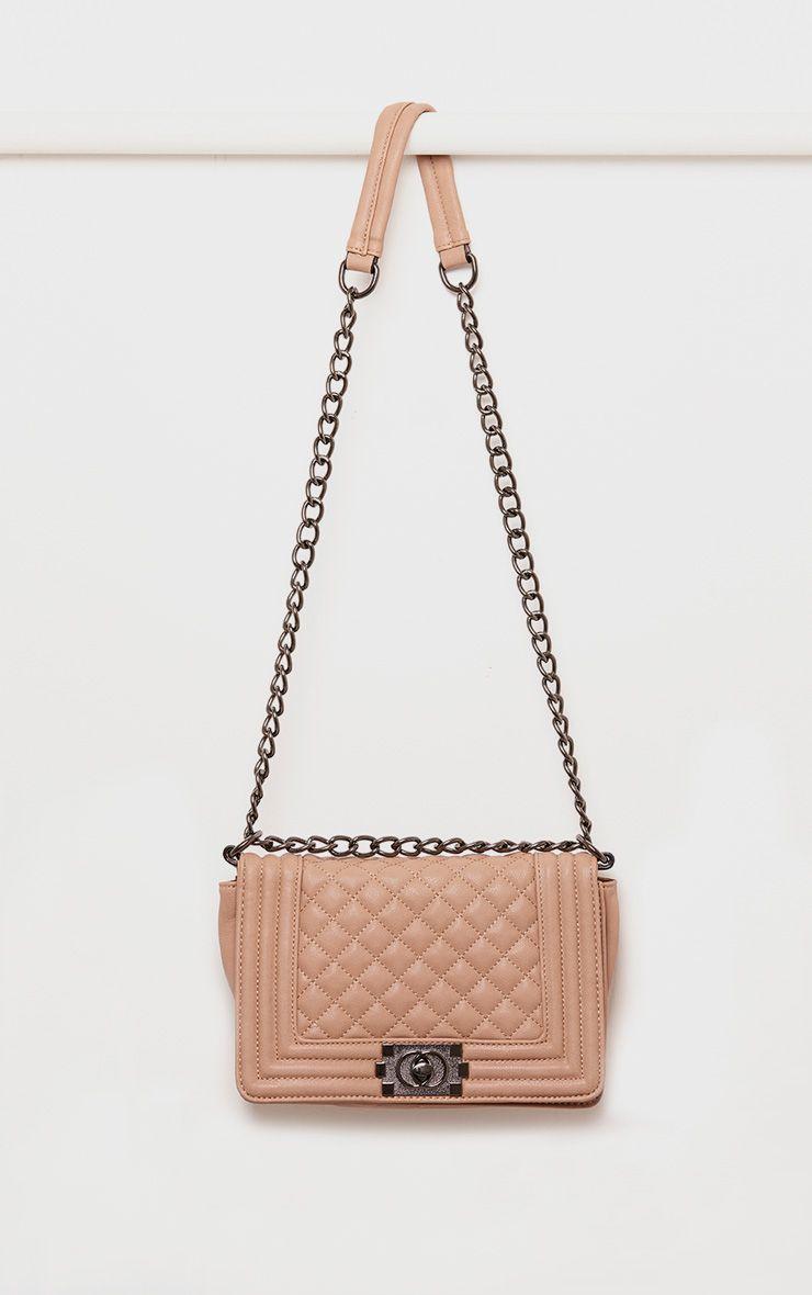 Millen Beige Quited Chain Strap Bag