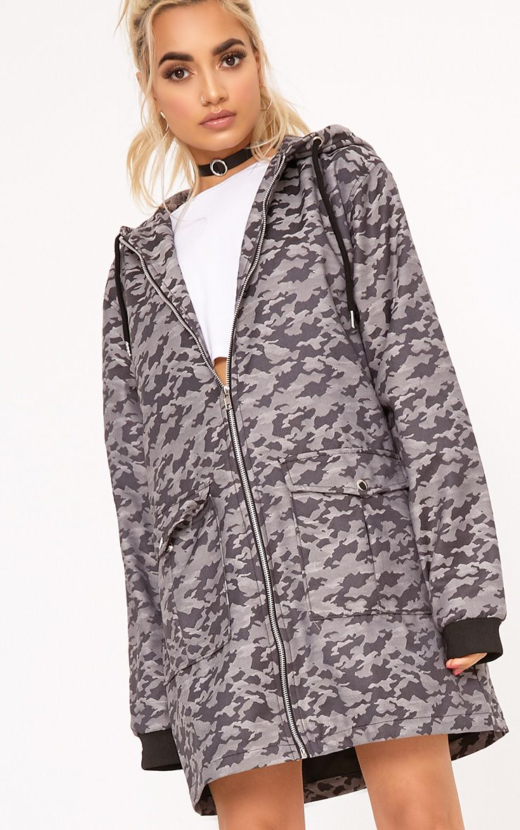 Grey Camo Long Line Hooded Jacket
