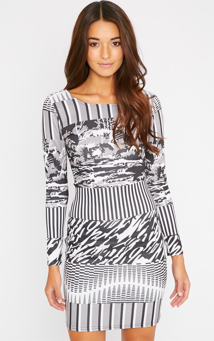 Olympia Monochrome Print Bodycon Dress 1
