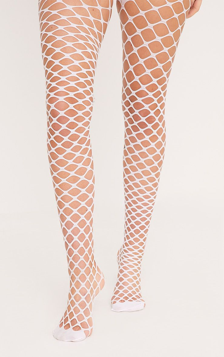 Cait White Diamond Fishnet Tights